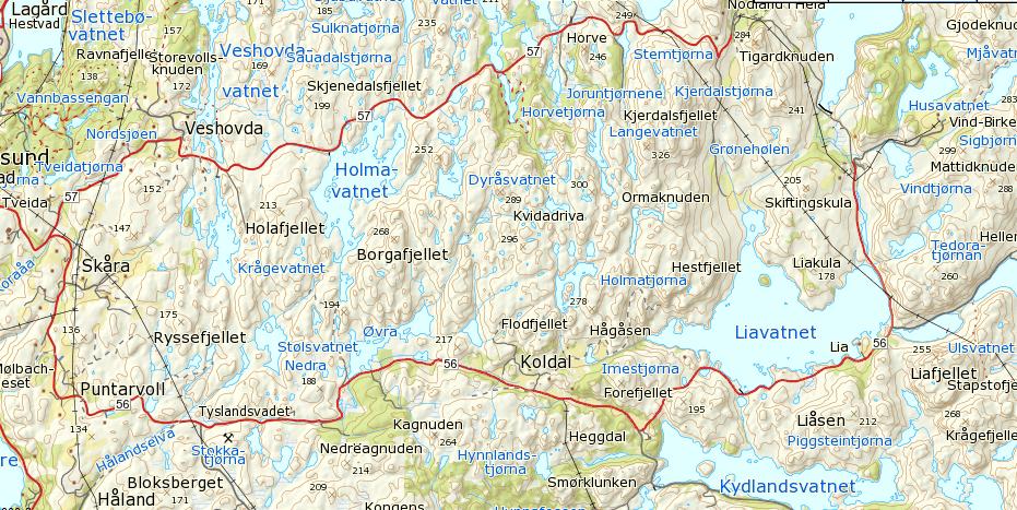 Kart 1. Jeg fulgte veien fra Veshovda, via Nodland, til Ulsvatnet