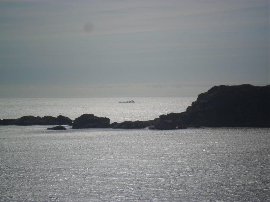 Et stort skip bak Foksteinan