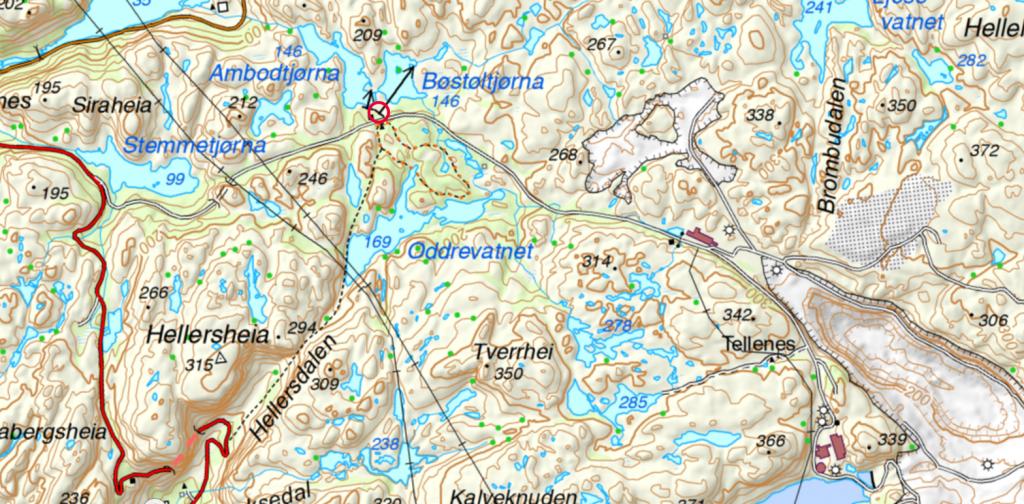 Lysløypa er tegnet inn på kartet, mellom Bøstølen og Oddrevatnet